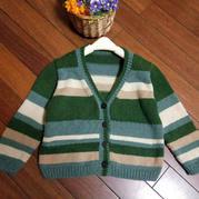 喵夫人大雪簡單易織兒童棒針條紋開衫