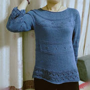 釉青 從上往下織女士棒針七分袖圓肩衣