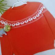 嘻洋洋 谷雨从上往下织儿童提花图案套头毛衣