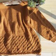 春芽 鏤空下擺女士棒針圓領羊毛衫