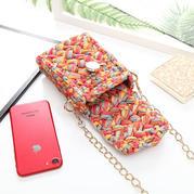 布条手机包 钩针布条线包包编织视频教程