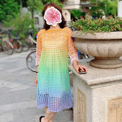 蛋糕线女士钩针七分袖连衣裙
