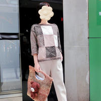 摩卡 女士钩织结合拼色祖母方格套头衫