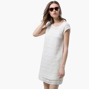 简约小白裙 女士钩针短袖连衣裙