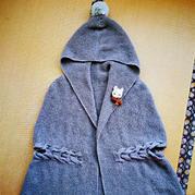 仿自毛线球3的女士棒地桂花针斗篷式大衣