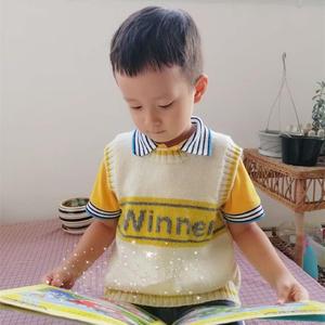 winner 寒露编织儿童字母图案男童背心