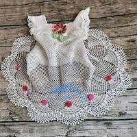拂花和网格的碰撞 钩针育克插肩蕾丝渔网公主裙衣衫