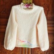 粉樱桃  云马云侣合股织经典从上往下织领口图案套头毛衣