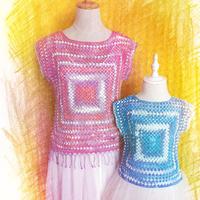 从中心钩起的钩针祖母方格套衫亲子款(2-1)方逸亲子蕾丝衫编织视频