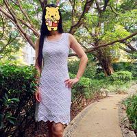 雪菱  90年代毛线球钩针蕾丝菱形花连衣裙