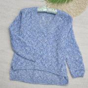 熠婷 前短后長女士棒針鏤空花V領馬海毛衣