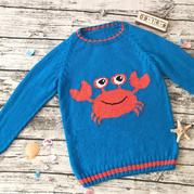 小雪伊人大香蕉久久网海洋风久久综合伊人棒针螃蟹海马图案插肩套头毛衣