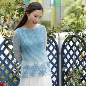 仙范儿女士钩针渐变色花朵钩针羊毛衫