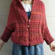 小寒仿织毛线球款女士棒针麻花披肩式开衫