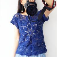 心似莲花开 杂志款背心改版女士钩针菠萝短袖衫