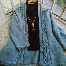 粗针织女士棒针麻花门襟不规则下摆开衫