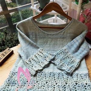 喵夫人家小雪女士鉤織結合七分袖套衫