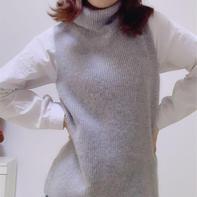 晨雾 时尚简约前短后长女士棒针元宝针羊绒背心