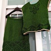 蒼翠 女士棒針套裙(從上往下織套衫+半身裙)