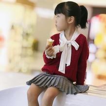 良辰 霜降编织儿童钩针V领长袖开衫