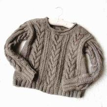 暮色 文艺范儿灰驼色女士棒针麻花套头毛衣