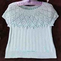 女士鉤織結合菠蘿短袖套衫