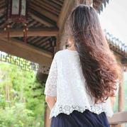 绒花 女士钩针蕾丝拼花短袖衫