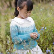 林海 從上往下織兒童棒針提花毛衣