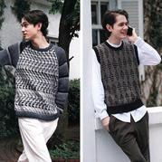 滑针编织马赛克提花效果男士棒针毛衣