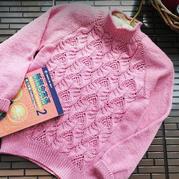 花仙子 仿外網粉色棒針鏤空花套頭毛衣
