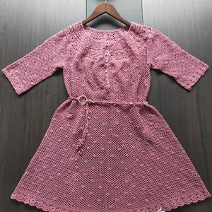 女士钩针葱网中袖连衣裙