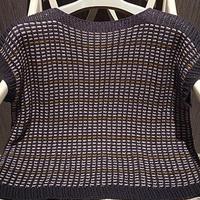 末夏 丝麻3色交替编织女士棒针短袖套衫