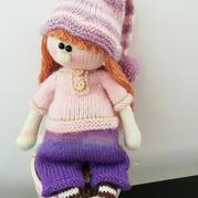 小精灵女生版 衣服可穿脱的棒针长发娃娃(附玩偶头发制作说明)