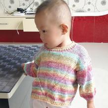 哈朵 雪尼尔喷彩萌娃娃儿童棒针套头毛衣