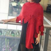 蝶舞翩翩 LK150鉤織結合女士披肩