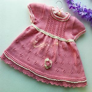 甜蜜蜜 仿毛线球款女童棒针公主裙与小披肩