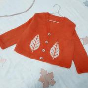 桔叶  儿童棒针叶子嵌花V领长袖开衫
