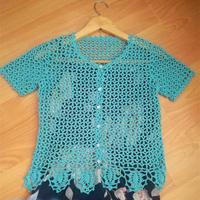蓝颜 志田款女士钩针蕾丝短袖开衫