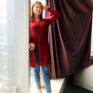水石改版从上往下织女士棒针育克插肩毛衣裙