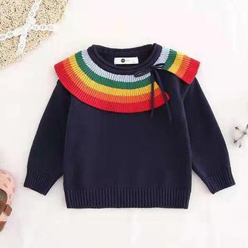 彩虹糖  喵夫人家霜降仿淘寶款兒童棒針披肩領套衫