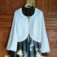 成人版雪霁 女士棒针圆摆长袖短开衫