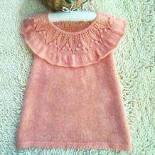 糖豆 儿童棒针叶子花荷叶边连衣裙