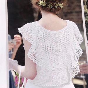 天使之翼 2019夏热仿款女士钩针荷叶边小飞袖套衫