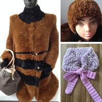 兔兔绒女士棒针长袖开衫外套、帽子与小围脖