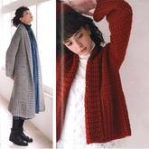 女士鉤針經典V型針長款與短款翻領大衣