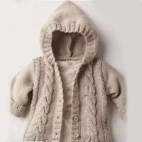 看图仿衣宝宝棒针麻花连帽开衫编织过程