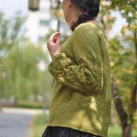 花袖子 喵夫人家小雪从上往下织女士棒针育克圆肩套头毛衣
