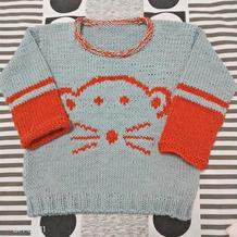 乖 云棉双股编织儿童卡通图案套头毛衣