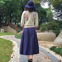 日系糖果色纯棉女士钩针七彩民族风拼花衣