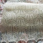 仙氣十足女士棒針蕾絲鏤空馬海棕櫚花圍巾